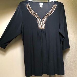Women's beaded plus size shirt